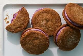Ginger Molasses Cookies with Blueberry Filling