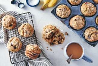 Gluten-Free Banana Chocolate Chip Muffins made with baking mix