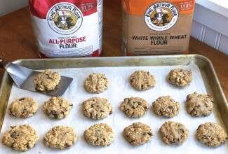 Oatmeal cookies and flour bags