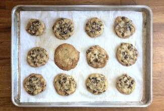chocolate chip cookies on a baking sheet
