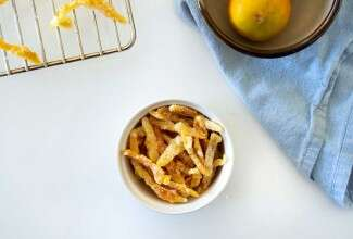 Small bowl of candied citrus peel