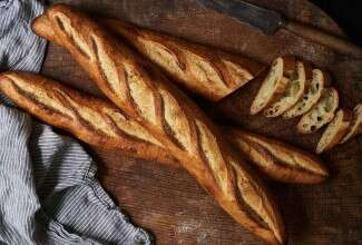 Three sourdough baguettes