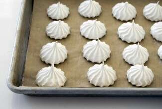 Aquafaba meringues on a baking sheet