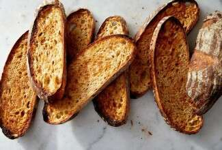 Sourdough bread sliced and toasted.
