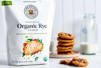 Bag of rye flour and cookies