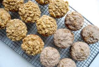 Banana bread muffins on rack