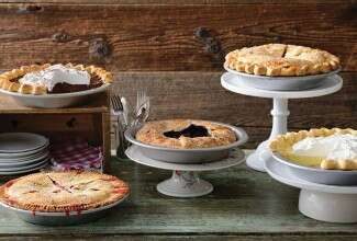 Five pies displayed