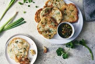 Quick Sourdough Herb and Scallion Pancakes