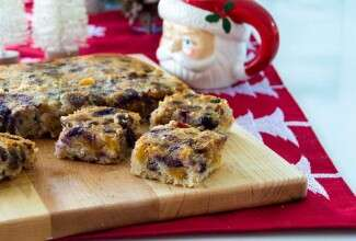 Fruitcake bars on cutting board