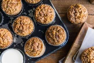 Gluten-Free Oat, Apple, and Walnut Muffins made with baking mix