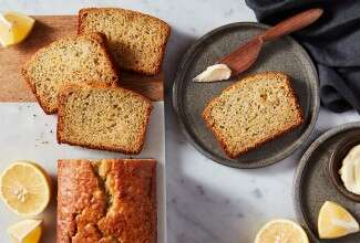 Lemon Poppy Seed Bread made with baking sugar alternative