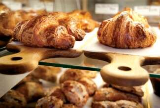 Croissants in bakery case
