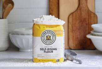 Bag of self-rising flour on counter