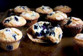 Blueberry muffins via @kingarthurflour