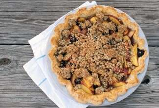Blueberry Nectarine Pie via @kingarthurflour