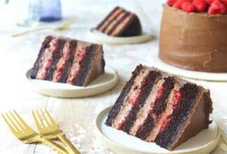 Chocolate Mousse Cake with Raspberries Bakealong via @kingarthurflour