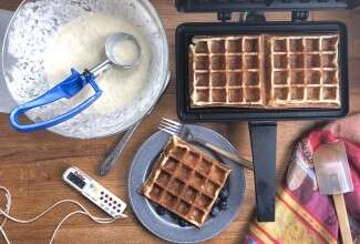 Classic Sourdough Waffles step-by-step via @kingarthurflour