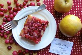 Farm to Table Harvest Apple Cranberry Cake via @kingarthurflour