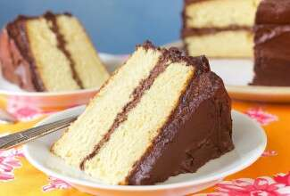 Golden Vanilla Cake via @kingarthurflour