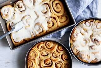 Big-Batch Frosted Cinnamon Rolls