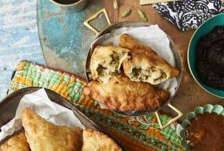 Spicy Samosas with Tamarind-Date Chutney