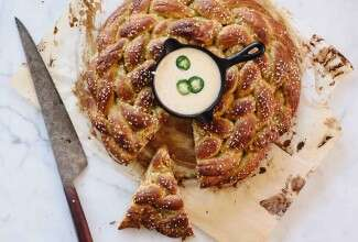 Sprouted Wheat Jalapeño Pretzel Braid with Skillet Queso