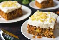 Slices of plated carrot cake