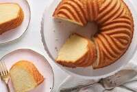 Bundt cake with several slices cut