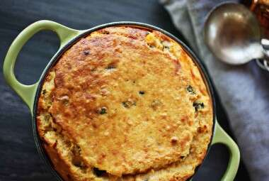 Sweet Potato Spoonbread with Smoked Gouda and Poblano Peppers