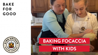Amy and Grace prepping focaccia dough