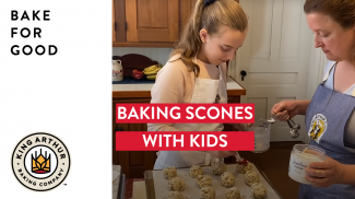 Grace and Amy scooping scones